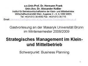 a o Univ Prof Dr Hermann Frank Univ