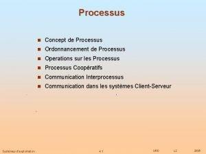 Processus n Concept de Processus n Ordonnancement de