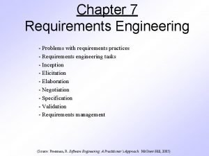 Chapter 7 Requirements Engineering Problems with requirements practices