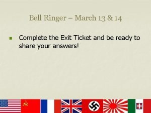 Bell Ringer March 13 14 n Complete the