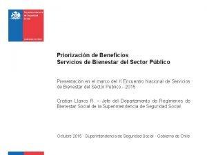 Priorizacin de Beneficios Servicios de Bienestar del Sector