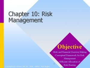 Chapter 10 Risk Management Objective Copyright Prentice Hall