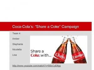 CocaColas Share a Coke Campaign Team 4 Amber