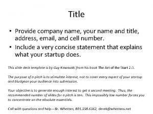 Title Provide company name your name and title