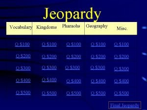 Jeopardy Vocabulary Kingdoms Pharaohs Geography Misc Q 100