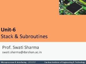 Unit6 Stack Subroutines Prof Swati Sharma swati sharmadarshan