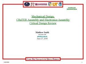 CRa TER CDR Mechanical Design CRa TER Assembly