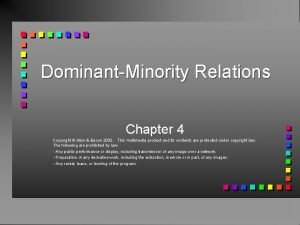 DominantMinority Relations Chapter 4 Copyright Allyn Bacon 2003