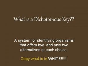 What is a Dichotomous Key A system for