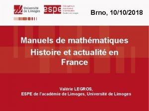 Brno 10102018 Manuels de mathmatiques Histoire et actualit