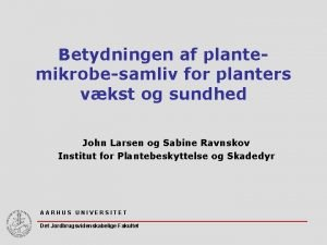Betydningen af plantemikrobesamliv for planters vkst og sundhed