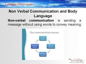 Learning for everyone Non Verbal Communication and Body