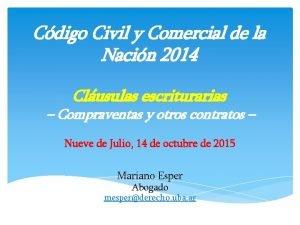 Cdigo Civil y Comercial de la Nacin 2014