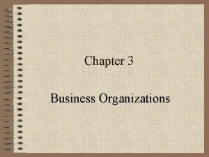 Chapter 3 Business Organizations Types of Firms Sole