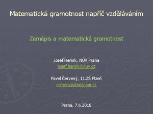 Matematick gramotnost nap vzdlvnm Zempis a matematick gramotnost