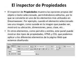 El inspector de Propiedades El inspector de Propiedades