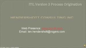 ITIL Version 3 Process Origination Web Presence www