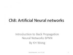 Ch 8 Artificial Neural networks Introduction to Back