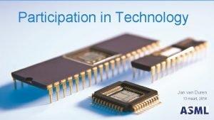 Participation in Technology Jan van Duren 13 maart