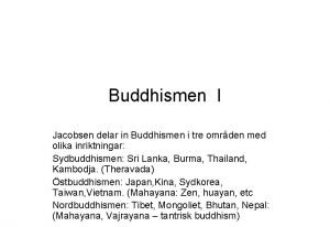 Buddhismen I Jacobsen delar in Buddhismen i tre