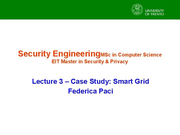 Security Engineering MSc in Computer Science EIT Master