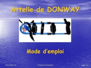 Attelle de DONWAY Mode demploi December 20 Philippe