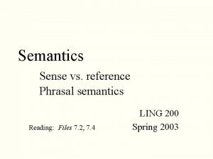 Semantics Sense vs reference Phrasal semantics Reading Files