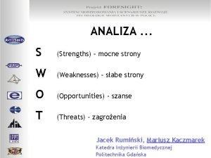 ANALIZA S Strengths mocne strony W Weaknesses sabe