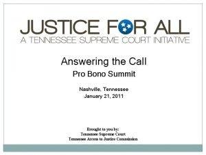 Answering the Call Pro Bono Summit Nashville Tennessee