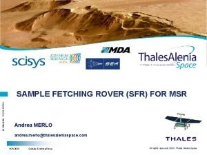SAMPLE FETCHING ROVER SFR FOR MSR Template reference
