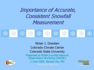 Importance of Accurate Consistent Snowfall Measurement Nolan J