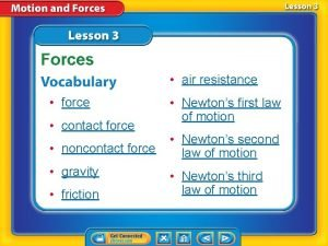 Forces air resistance force contact force noncontact force