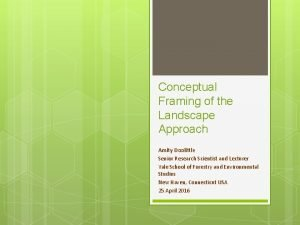 Conceptual Framing of the Landscape Approach Amity Doolittle