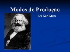 Modos de Produo Em Karl Marx Karl Marx