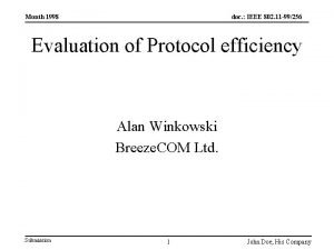 Month 1998 doc IEEE 802 11 99256 Evaluation
