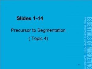Slides 1 14 Precursor to Segmentation Topic 4