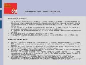 LE TELETRAVAIL DANS LA FONCTION PUBLIQUE LES TEXTES