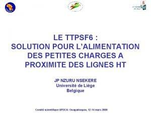 LE TTPSF 6 SOLUTION POUR LALIMENTATION DES PETITES