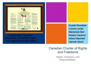 Fundamental Freedoms Democratic and Mobility Rights and Legal