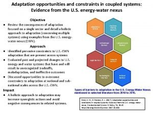 Adaptation opportunities and constraints in coupled systems Evidence