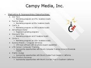 Campy Media Inc Marketing Sponsorships Opportunities Del Taco