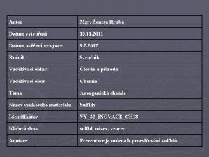 Autor Mgr aneta Hrub Datum vytvoen 15 11