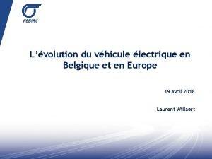 Lvolution du vhicule lectrique en Belgique et en