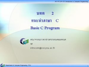 242 101 241 101 Introduction to Computer Programming