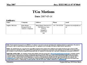 May 2007 doc IEEE 802 11 070700 r