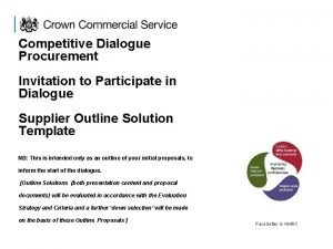 Competitive Dialogue Procurement Invitation to Participate in Dialogue