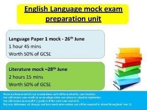 English Language mock exam preparation unit Language Paper