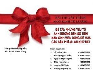 BI THUYT TRNH MN KINH T LNG Ging