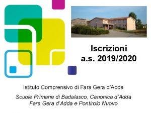 Iscrizioni a s 20192020 Istituto Comprensivo di Fara