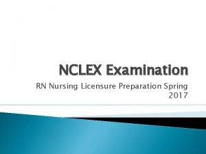 NCLEX Examination RN Nursing Licensure Preparation Spring 2017